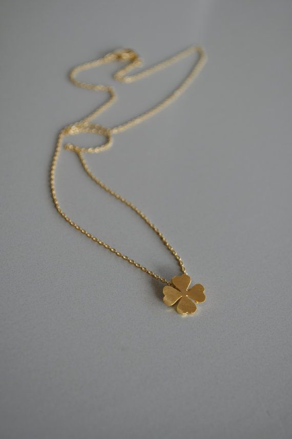 Four Leaf Clover Necklace Gold from maldemer shop