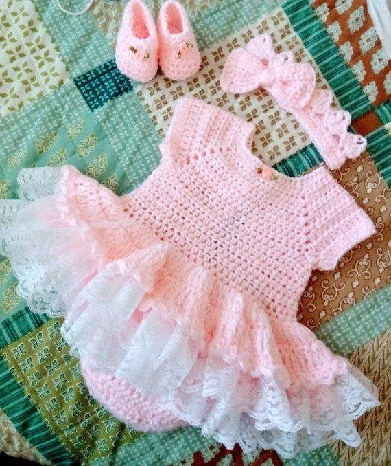 1ad11077c15f0 Beautiful pink romper set with lots of lace comes with shoes | Etsy ...
