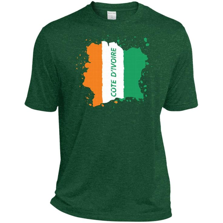 Ivory Coast Coat Of Arms T Shirt National Cote d'Ivoire-01 TST360 Sport-Tek Tall Heather Dri-Fit Moisture-Wicking T-Shirt