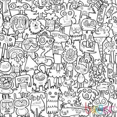 All About Abbie...: Colouring Book Wallpaper by Jon Burgerman