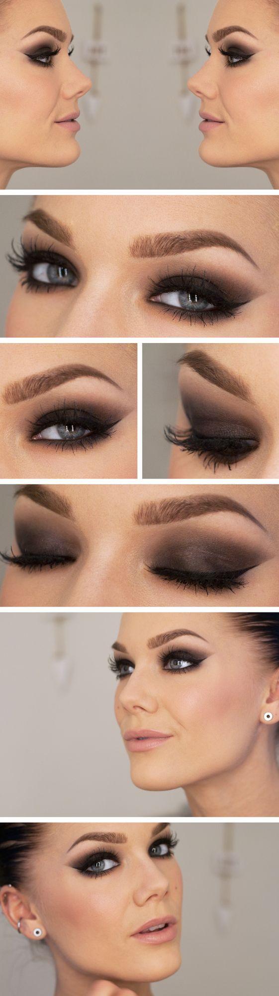 Beautiful smoky eye with pale lips