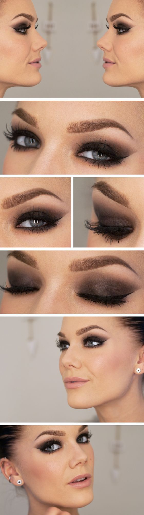 Beautiful smoky eye with pale lips. It tells you what she has used to create the look on the link, but not how she has created it. That will be sat practicing 200+ times :(