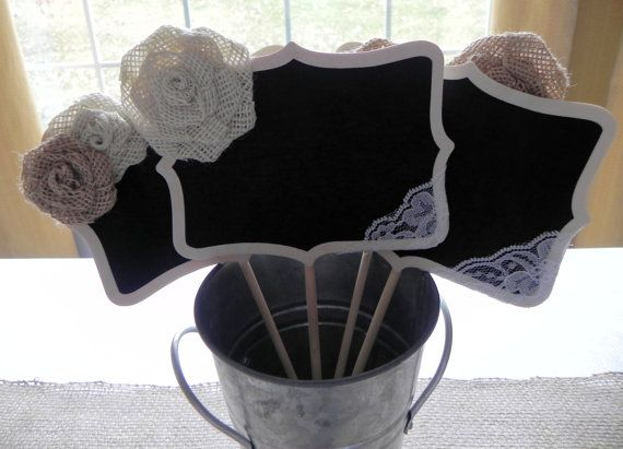 Large Burlap and Lace Decorated Chalkboard Stand / Wedding / Party/ Buffet Sign on Etsy
