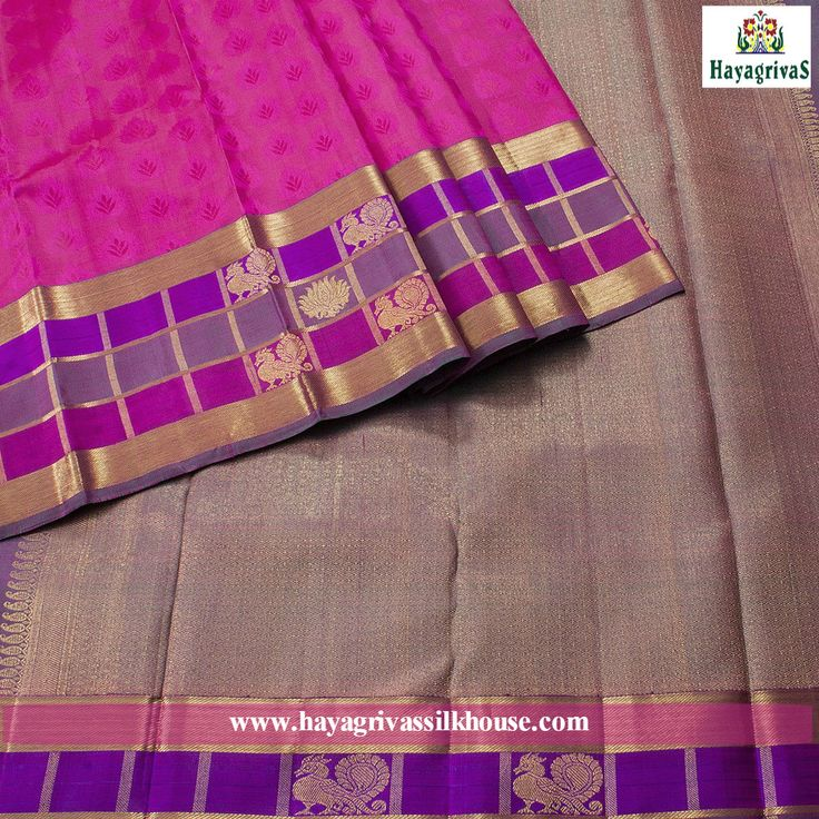 #Pink is the color of happiness and is sometimes seen as lighthearted. #Lotus pink colored #Kanjivaram pure silk saree with different floral motifs on the body and checked #golden zari border with annam and #lotus motifs on the border.#Violet and zari shaded on pallu. Looking more beautiful #Silksarees #Weddingsilks #Traditionalsilks #Diwalishopping Visit us: https://www.hayagrivassilkhouse.com/saris/1454.html Call us: 91 9840582892