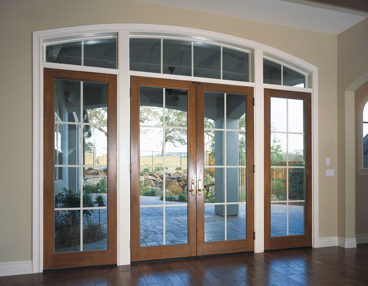 White and wood colors frame these french doors with large for External french doors and frame