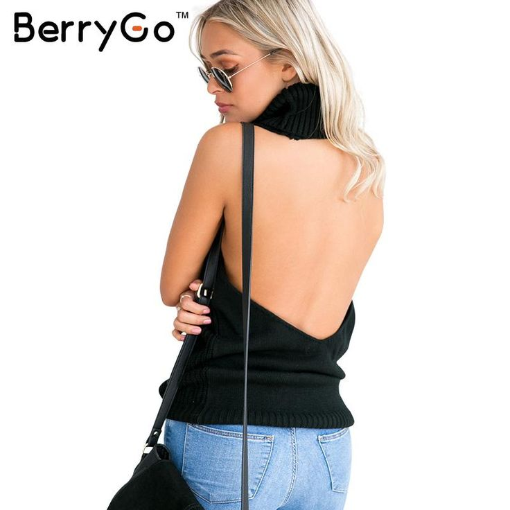 BerryGo Autumn winter knitted backless turtleneck jumper Sexy off shoulder thin sweater Elegant pullover white sweater women