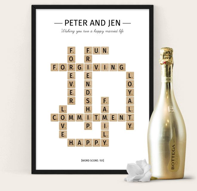 Wedding Poster from The Puzzle Poster - scrabble themed poster