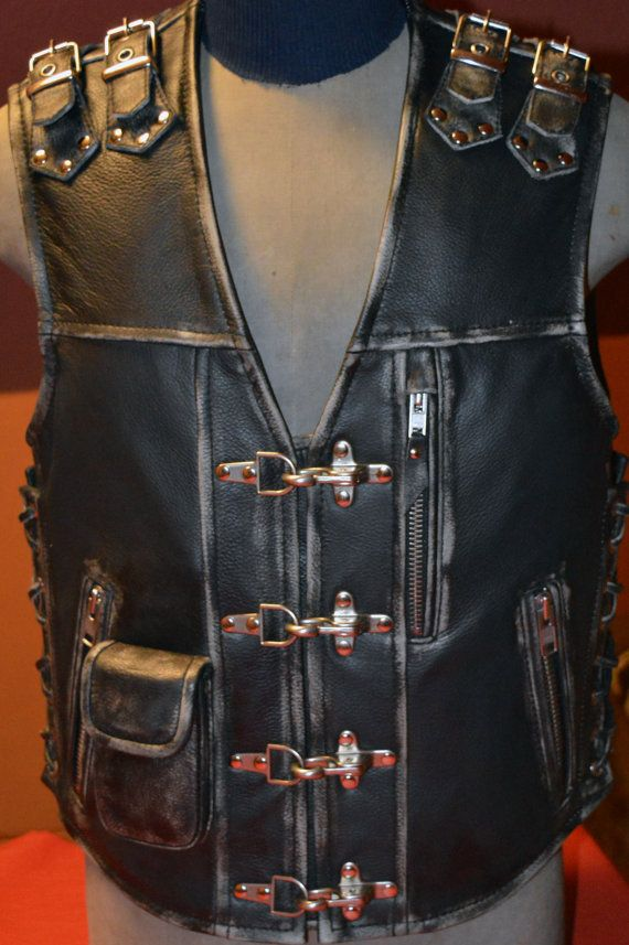 Handmade Biker vest Unique motorcycle vest by MPBikerTailor