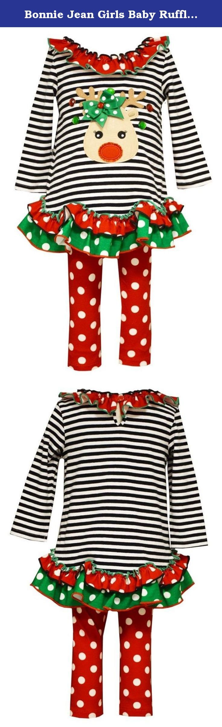 Bonnie Jean Girls Baby Ruffled Top with Leggings Reindeer Applique. Introducing Rudolphina, the newest red nosed, and green bowed, reindeer. She comes attached to an adorable black and white striped knit dress with a red polka dot ruffled neck and red and green polka dot hem, and red polka dot pants. Simple, cute, and fun, this dress from Bonnie Jean is sure to be a favorite.