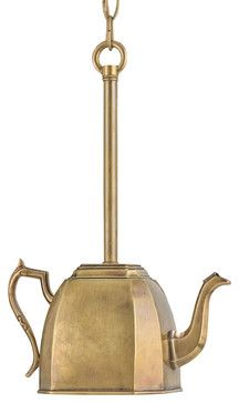 Oxfordshire High Tea Antique Brass Kettle Pendant - transitional - Pendant Lighting - Kathy Kuo Home