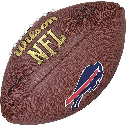 Buffalo Bills Logo Official Football by Wilson. $25.00. NFL Game Logo Ball-Official Buffalo Bills. Composite Leather NFL Logo Football. Composite Leather:great performing durable cover provides better grip and feel for the serious competitor. Color team logo on 3rd panel. You can show your passion for pigskin by displaying this Wilson® NFL® team Football on your mantle in the office or bookshelf in the rec room. The high grade composite NFL® replica game ball is signed by com...
