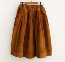 Principios de la primavera nueva solid Una Línea de falda de Pana estilo Japonés mori chica(China (Mainland))