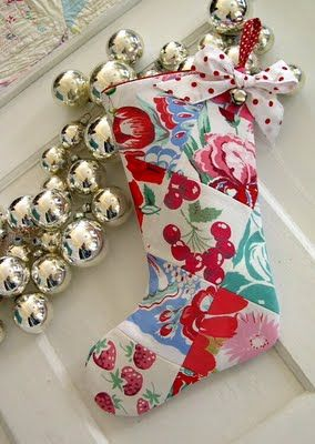 Christmas stockings made with vintage linens