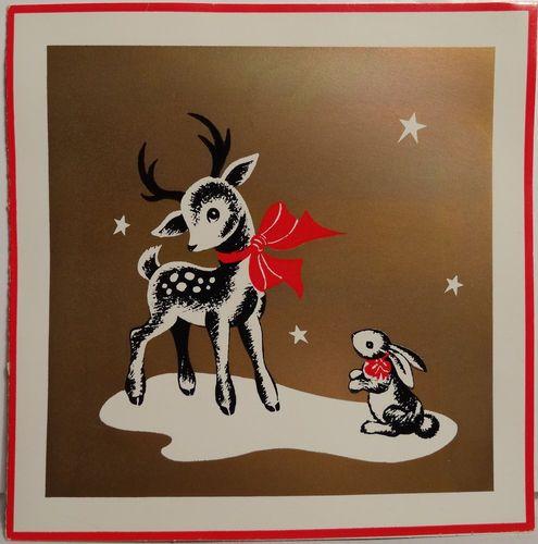 Deer Bunny Rabbit Vintage Christmas