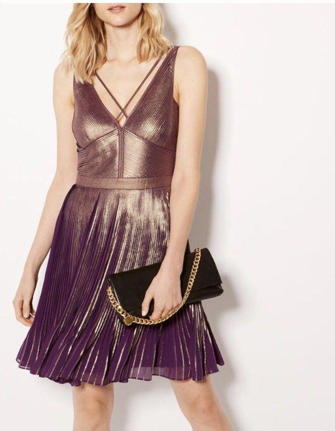 Karen Millen Stunning METALLIC PLEATED DRESS Size 14UK 42EU  | eBay