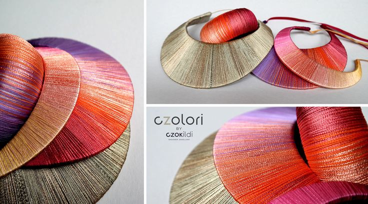 Yarn art , statament yarn wrapped jewellery by Czolori http://czokildihu.bigcartel.com/