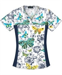 Love this Cherokee Flexibles Scrubs above the Flowers V-Neck Top.  Super cute!  Love the butterflies!!