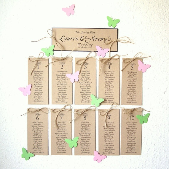 Seating plan Name of Places with White Butterflies by shintashop, £16.00