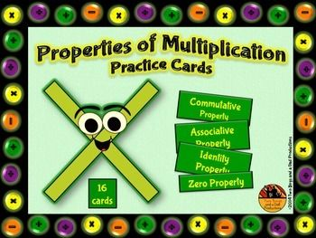 This is a set of 16 cards that can be used in many ways for students to practice or memorize the following properties of multiplication:  ★ Commutative Property of Multiplication ★ Associative Property of Multiplication ★ Zero Property of Multiplication ★ Identity Property of Multiplication  There are 4 cards for each property.