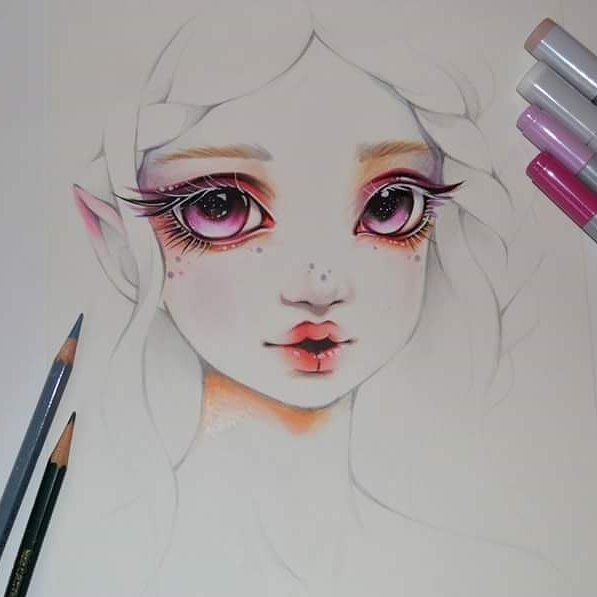 As already mentioned I really want to practice more close ups and instead of only doing eyes, I created this light elf girl portrait/sketch :) Can't wait to do more - maybe also some fanart characters, too. What would you like to see? #cute #kawaii #light #elf #girl #lips #sketch #eyes #galaxy #seductive #practice #colored #pencil #copic #marker #lighane #lighanesartblog