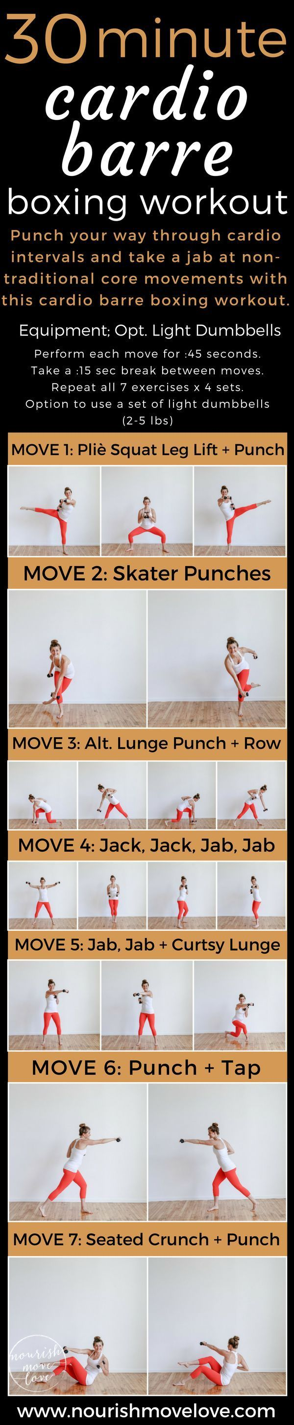 Cardio Barre Boxing Workout – full body workout under 30 minutes. Pair traditional barre/ballet movements and boxing cardio intervals with core movements. Upper body and lower body strength training with total body cardio. Light dumbbells optional; good o