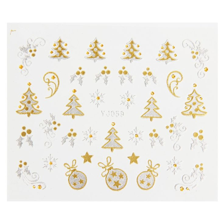 Makartt 120 Sheets  XMAS  Stickers 3D Gold & Silver Metallic Snowflake Christmas Tree Nail Art Decorations Wholesale XXB0527