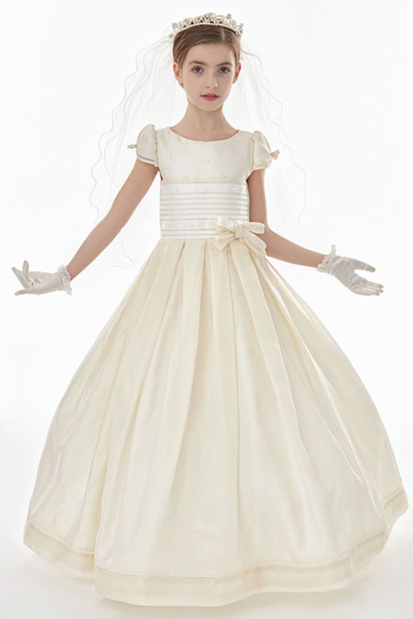Silk Ball Gown Floor Length Communion Dress With Cap Sleeves And Bow(S)