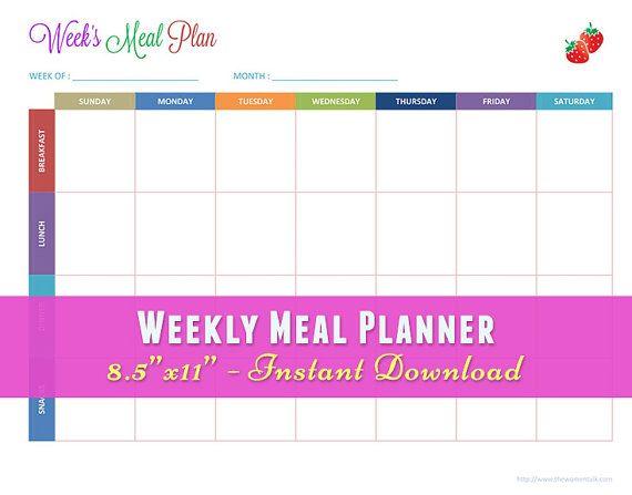 """Meal Planner, Meal Planning Calendar, Week's Menu, Menu Planner, Weekly Meal Planner, Weekly Menu Calendar, Weekly Meal Calendar, 8.5""""x11"""""""