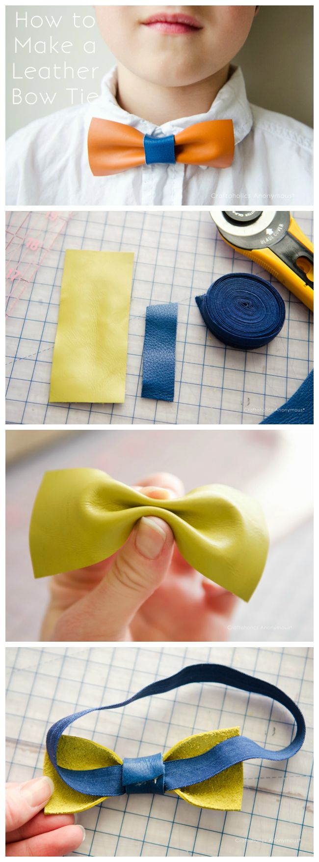 how to make leather bow tie. Click here: http://www.craftaholicsanonymous.net/make-leather-bow-ties-tutorial