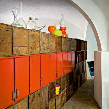Florence apt with storage galore (mismatched) but surfaces clearish, some storage not visible, other on show with gaps in between.: Interior Design, Ideas, Orange, Florence, Interiors, Loft, Furniture, Storage