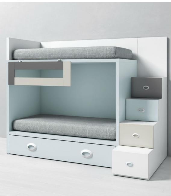 Litera infantil dado con cama nido y escalera cajones - Escalera cama infantil ...