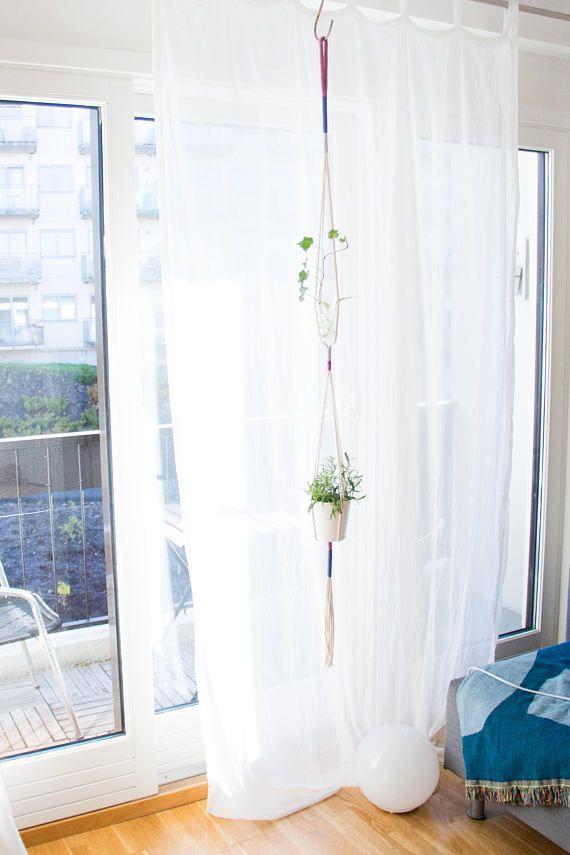 Satsuma Double Plant Hanger Pink/Blues