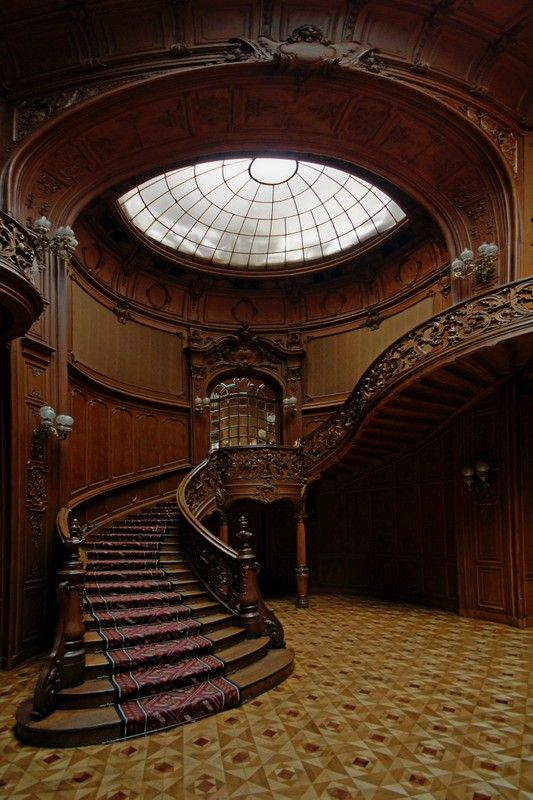 solid black air shoes Wooden stairs in interior of House of Scientists  formerly Polish casino of nobles  Lviv Ukraine   Lukasz Mlodzins