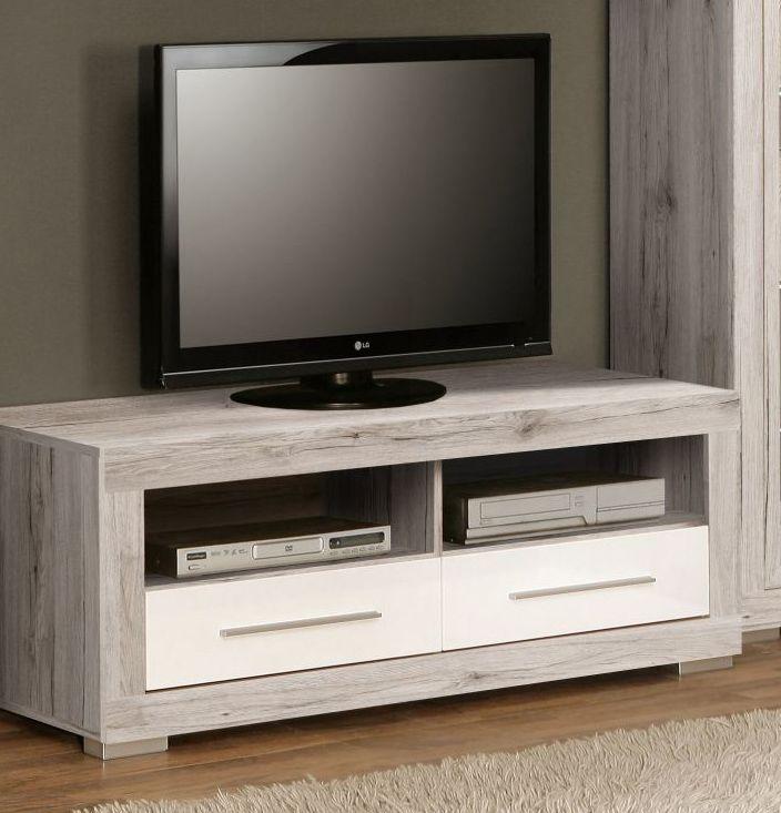 TV Unterschrank Annabelle in den Trendfarben Sandeiche und Weiss Hochglanz 1 x TV Unterschrank mit 2 Schubkästen und 2 Receiverfächer Maße: B/H/T 128,9 x 49,3 x 54,2 cm...