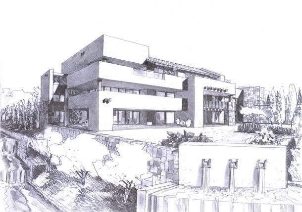 Dibujos de casas modernas a lapiz buscar con google a for Casa de arquitecto moderno
