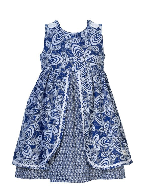 Girls Navy & White African Print Dress  by JenniDezignsClothing