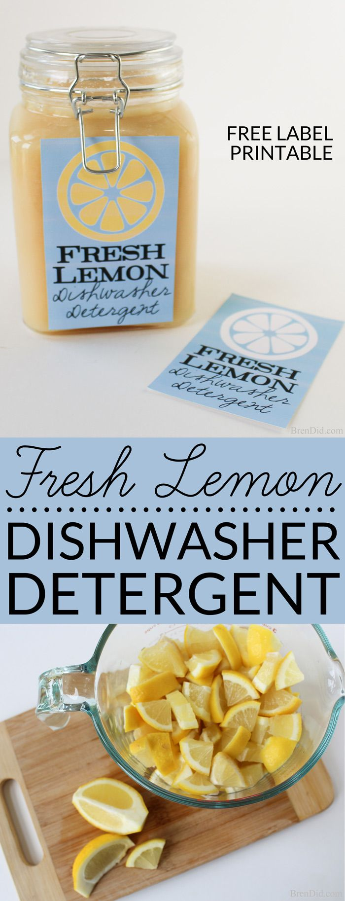 Love natural DIY products? Fresh Lemon Homemade Dishwasher Detergent uses real lemons, salt & vinegar to make liquid dishwasher detergent that cleans naturally. Learn about the recipe & its effectiveness.