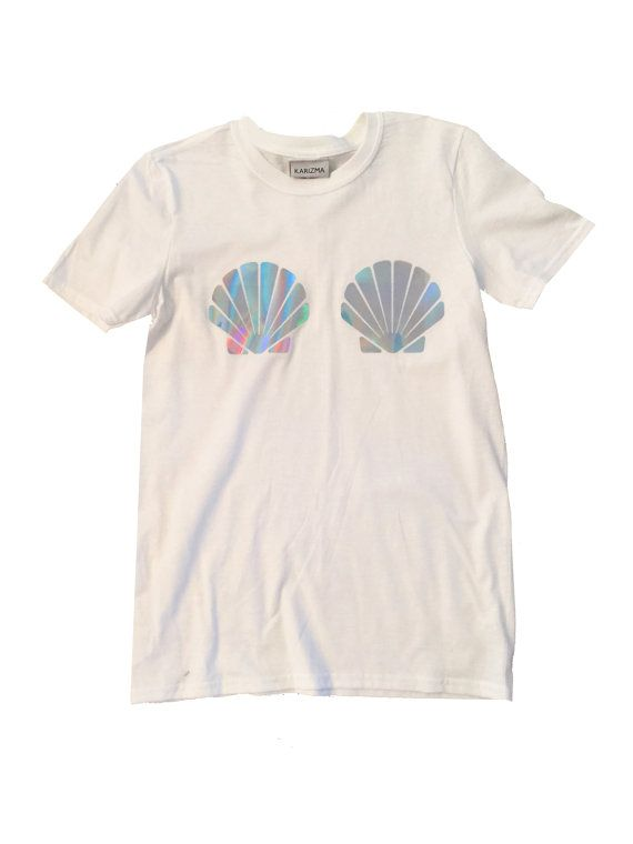 Mermaid Holographic Shell T-Shirt Sea Shell by KARIZMAlondon