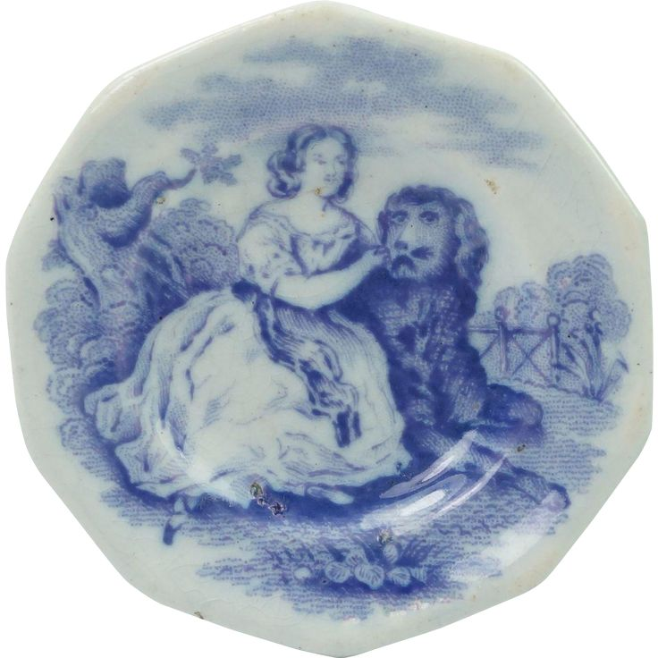 Antique Victorian Childs Miniature Lilac Transferware Toy Plate Girl and Newfoundland Dog Circa 1825