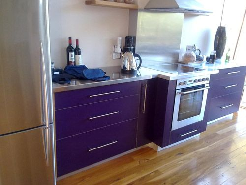 Kitchen, Cheerful Purple Kitchen Color Set In Maple Furnish And Wooden  Floor: Few Sample