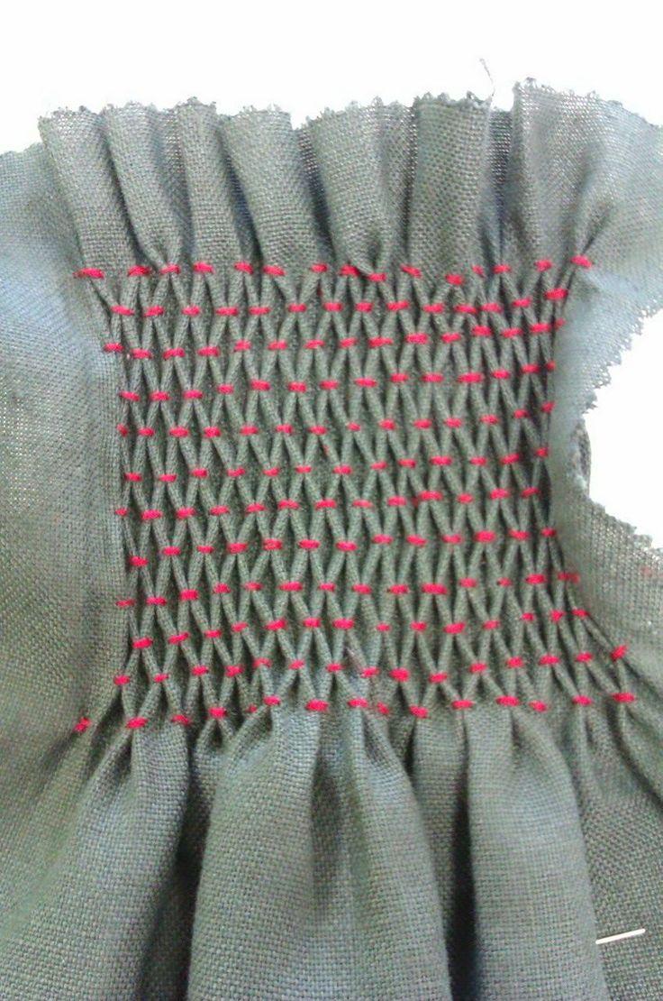 English Smocking textiles sample by Ruth Singer - fabric manipulation techniques - smocking, shirring, gathering