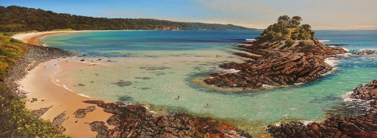 Enchanted island, Seal Rocks by Rod Bathgate.  'The Galleries Masters'   Rod is arguably in the top 5 of Australia's best pastel artists. Steve's sculptures capture the viewer's attention because they are foremost colourful. Browse & buy here: http://goo.gl/Zxnvm1 #art #australianart #chg