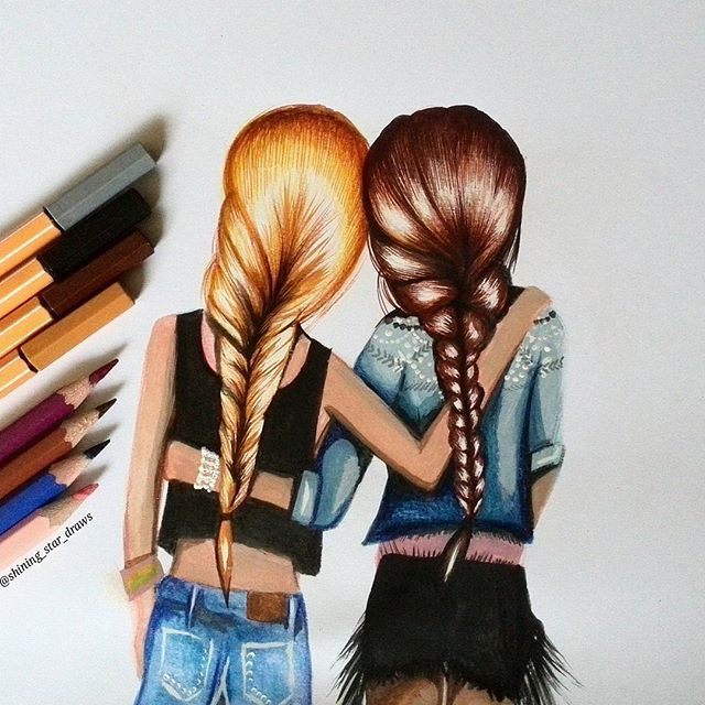Friends ! Tag your best friend! Quick drawing with my Stabilo pencils. Hope you…                                                                                                                                                                                 Más