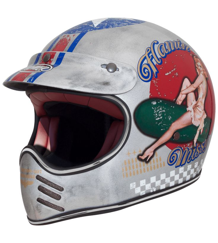 casque premier mx pin up old style silver, disponible chez idealmoto
