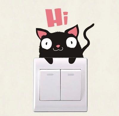 Творческий DIY Смешные кошки и свиньи переключатель наклейки стены детская комната спальня детская комната мебель, электрическая розетка симпатичный ноутбук