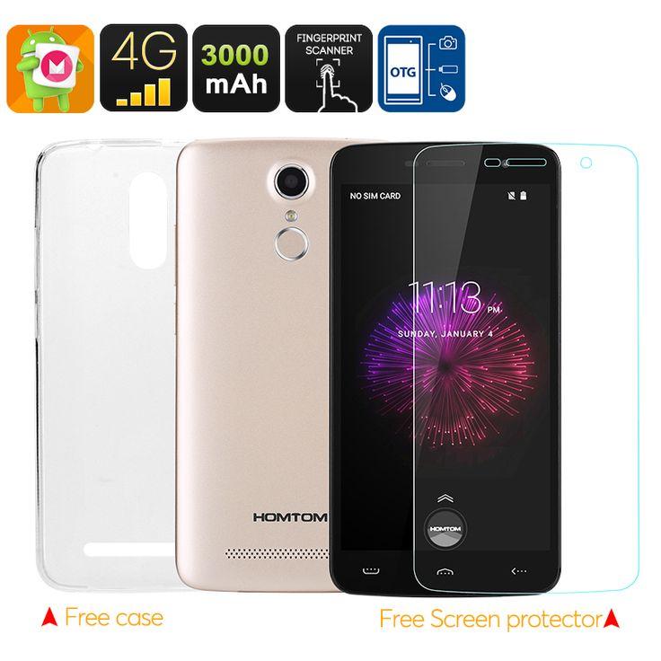 HOMTOM HT17 Pro Смартфон - Андроид 6.0, MTK6737 четырёхъядерный процессор, 2 Гб оперативной памяти, 4G, OTG, 3000mAh батарея, Камера 13 Мпикс (Золотистого цвета)