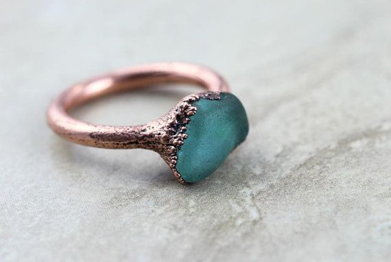 Seaglass Ring Size 7 3/4 Electroformed Copper Ring by SugarGarnish