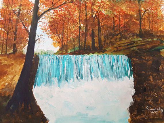Autumn Waterfall by ChezPimmi on Etsy