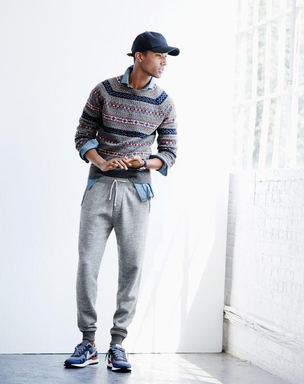 NOV Style Guide: J.Crew men's Fair Isle sweater in grey, slim indigo  Japanese chambray shirt, slim classic sweatpant, baseball cap and Nike® Air  Pegasus ...