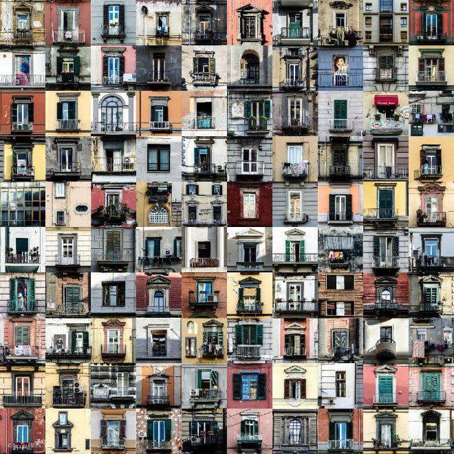 Cento finestre inun quadrato 10 per 10, un collage fotograficoper raccontare quelleaperture sul mondo in via Toledo. è loscatto